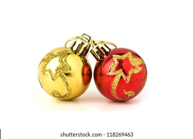 Christmas and new year decoration golden and red baubles isolated on white background