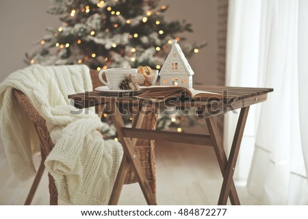 Christmas Or New Year Decoration On Modern Wooden Coffee Table Living Room Interior And Holiday