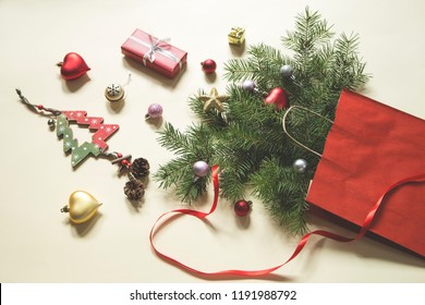 Christmas and New Year decoration with the paper bag