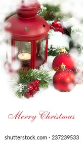 Christmas and New Year Decorations isolated on a light background. lantern light and tinsel