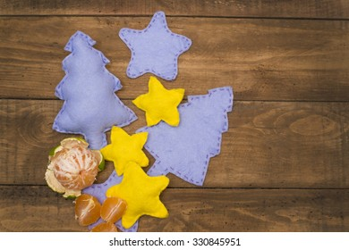 Christmas and new year decorations on wooden table