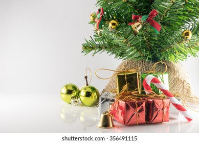 Christmas and new year decorations on white background