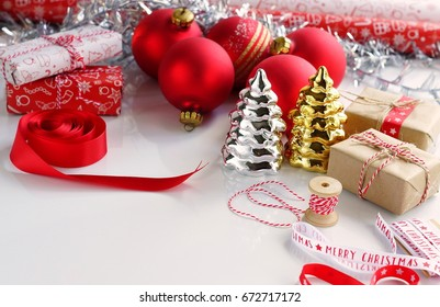 Christmas or New Year decorations on white background.Copy space