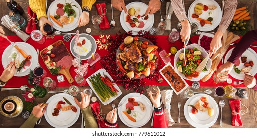 Christmas new year dinner group concept