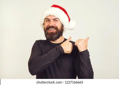 Christmas or New year. Elegant party fun. Hipster santa. Santa poster. Xmas beard.