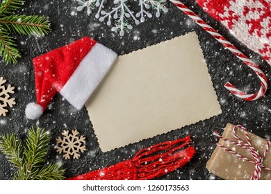 Christmas or new year festive card. Winter holidays concept.  Christmas Composition with Gifts with free text space. Top View.