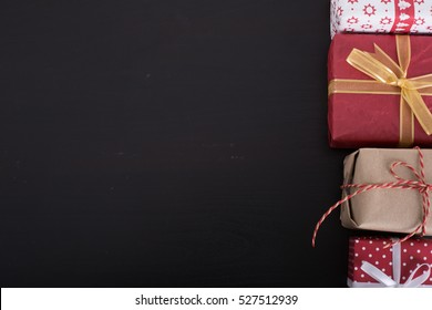 Christmas and New year gift box on the wood board.