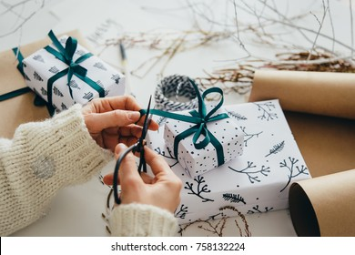 Christmas or New year gift packing. Holiday decor concept.