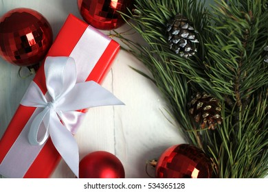 Christmas and New Year: gifts, decoration, tree