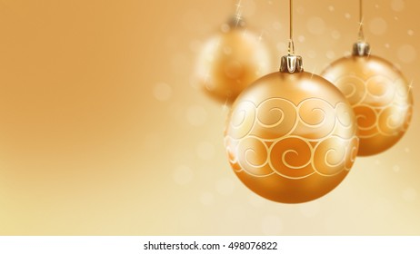 Christmas and new year gold balls background design template