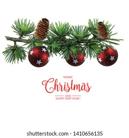 Christmas and New Year Greeting Card with composition festive decorations