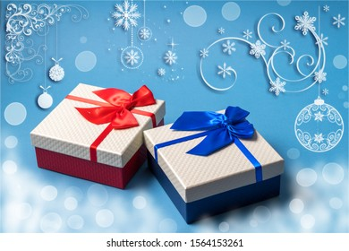 Christmas and new year greeting card decoration with gift boxes on blue background.