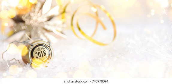 Christmas and New Year holiday background with champagne