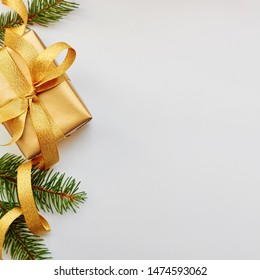 Christmas and New Year holiday border card. Flat lay over white background, top view, copy space - Shutterstock ID 1474593062