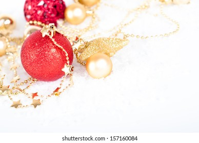 Christmas or New Year holiday decoration with Christmas balls, ornaments, baubles and stars