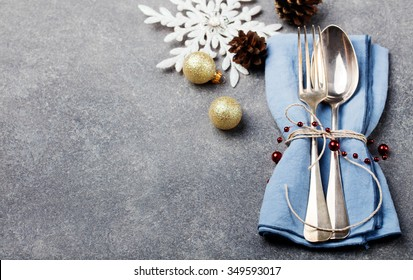 Christmas And New Year Holiday Table Setting Celebration Place setting for Dinner Decorations Copy space