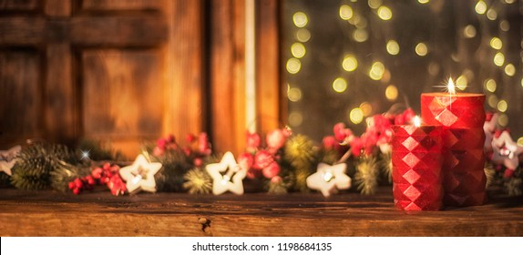 Christmas and New Year holidays background, Atmospheric Christmas window sill decoration with home cozy interior.