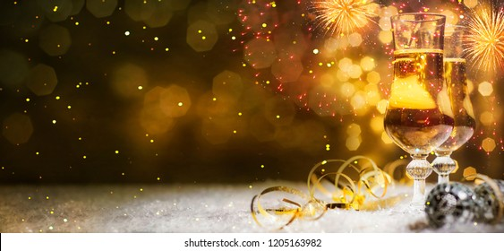 Christmas and New Year holidays background with champagne