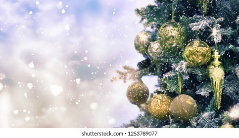 Christmas and New Year holidays background, winter season.