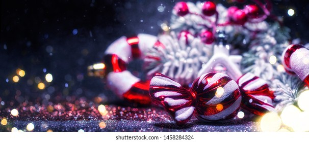 Christmas and New Year holidays background with Santa Claus