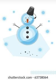 Christmas and New Year. Joyful Snowman. Illustration
