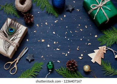 Christmas New Year navy blue stylish frame. Top view winter holiday greeting card. Copy space