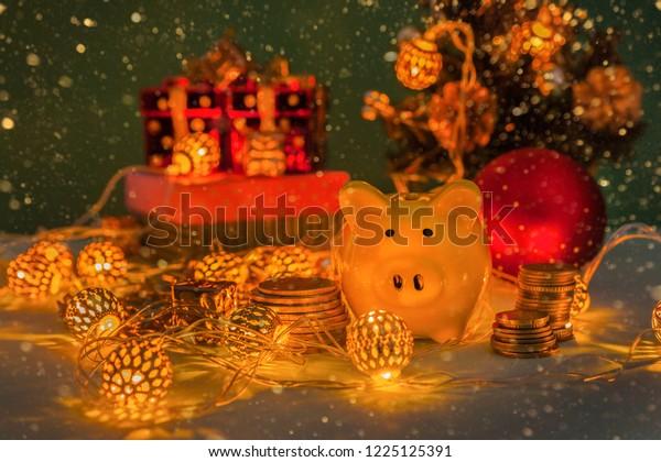 Christmas 2019 Bank Holidays.Christmas New Year Piggy Bank Holiday Stock Photo Edit Now