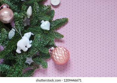 Christmas, New Year pink polka dot background frame. Winter holiday flat lay. Top view. Copy space