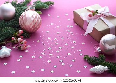 Christmas, New Year purple celebration concept close up. Winter holiday composition.
