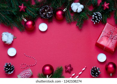 Christmas, New Year red stylish flat lay frame . Winter holiday composition. Top view. Copy space