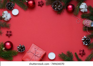 Christmas, New Year red stylish flat lay frame with ribbon. Winter holiday composition. Top view. Copy space