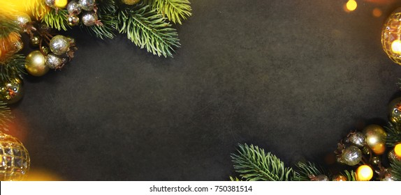 Christmas and New Year s holiday background with copy space,  Christmas border
