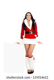 christmas new year santa girl happy smile, party woman wear Clause costume hold blank board with empty copy space, full length isolated over white background