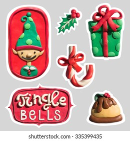 Christmas and New Year stickers collection, handmade of plasticine. Dimensional stickers pack.