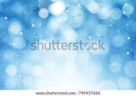 christmas and new year theme background blue abstract with winter snowfall background