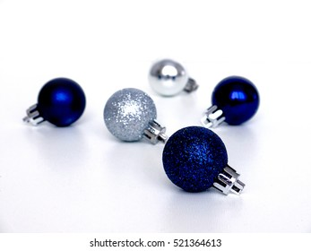 Christmas, new year, Christmas toys, blue, silver on white background
