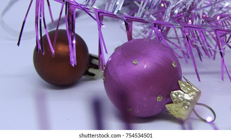 Christmas and New Year tree decorations, colorful balls on white background