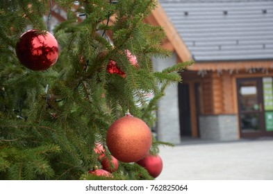 Christmas and New Year tree decorations on blurred park background, holidays' mood, time to celebrate