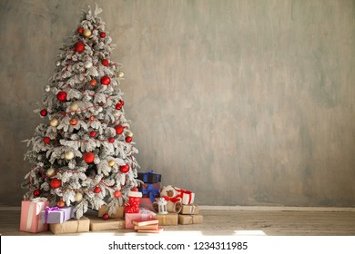 Christmas new year tree holiday winter gifts decorations background