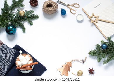 Christmas, New Year white frame. Winter holiday flat lay. Top view. Copy space