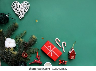 Christmas. New Year. Winter. Flat lay concept.