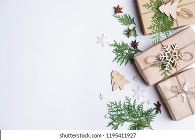 Christmas, New Year, winter holidays festivity and celebration concept. Gift boxes and decorations composition with copy space