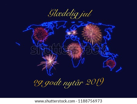 christmas and new year wishes in golden letters gldelig jul og godt nytr 2019