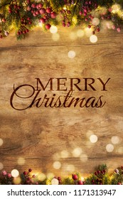 Christmas and New Year wooden background with light