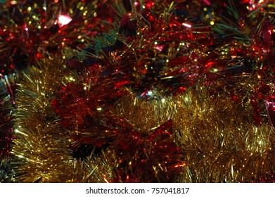 Christmas or New Year's background. A multicolored tinsel.