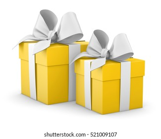 Christmas and New Year's Day, 2 yellow gift boxes white background 3d rendering