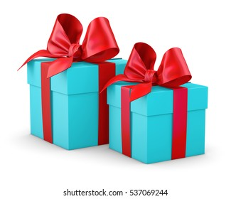 Christmas and New Year's Day , 2 red blue sky gift boxes white background 3d rendering
