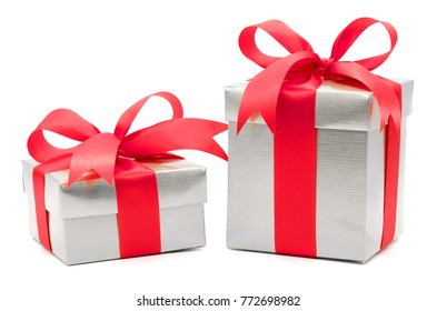 Christmas and New Year's Day , 2 red gift box white background