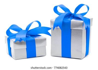 Christmas and New Year's Day , 2 blue gift box white background