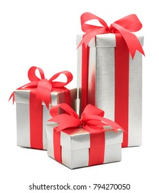 Christmas and New Year's Day , 3 red gift box white background